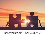 working in collaboration for... | Shutterstock . vector #421268749