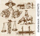 asian farmers working on field. ... | Shutterstock .eps vector #421274470
