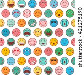 seamless pattern with emoticons ... | Shutterstock .eps vector #421275190