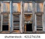 Wooden Window. Horror Concept.