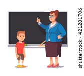 grumpy school teacher... | Shutterstock .eps vector #421281706