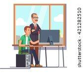 happy boss watching over...   Shutterstock .eps vector #421282510