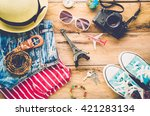 travel clothing accessories... | Shutterstock . vector #421283134