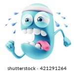 fitness emoticon character face ... | Shutterstock . vector #421291264