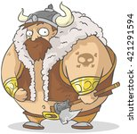 funny cartoon big viking with... | Shutterstock .eps vector #421291594