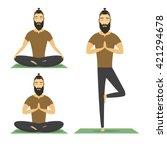 yoga meditation man with beard... | Shutterstock .eps vector #421294678