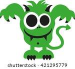 green ugly monster smiling  | Shutterstock .eps vector #421295779