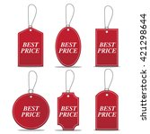red price sale tags stickers set | Shutterstock .eps vector #421298644
