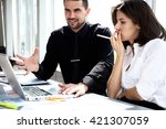 business people having meeting... | Shutterstock . vector #421307059
