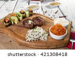 hearty meatballs served on... | Shutterstock . vector #421308418