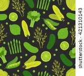 seamless pattern with green... | Shutterstock .eps vector #421310143