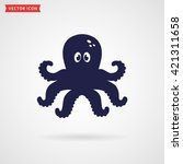 Cute Octopus Icon Isolated On...