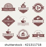 coffee logo templates. set of... | Shutterstock .eps vector #421311718