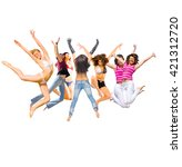 over white jumping together  | Shutterstock . vector #421312720