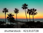 palm trees and pier at sunset...   Shutterstock . vector #421313728
