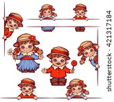 vector banners with girl and... | Shutterstock .eps vector #421317184