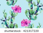 vector cactus  tropical flowers ... | Shutterstock .eps vector #421317220