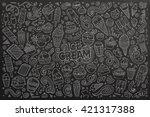 line art chalkboard vector hand ... | Shutterstock .eps vector #421317388