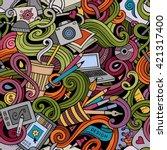 cartoon hand drawn doodles on... | Shutterstock .eps vector #421317400