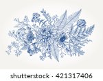 bouquet with a vintage garden... | Shutterstock .eps vector #421317406