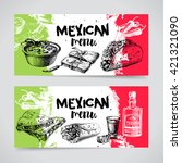 mexican traditional food menu.... | Shutterstock .eps vector #421321090