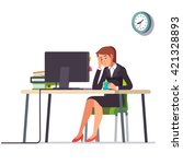 business woman or an accountant ... | Shutterstock .eps vector #421328893