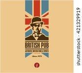british food  british pub label ... | Shutterstock .eps vector #421329919