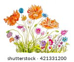 hand painted watercolor and ink ... | Shutterstock . vector #421331200
