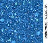 muslim icons seamless pattern.... | Shutterstock .eps vector #421333204