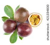 passion fruit  whole and cut in ... | Shutterstock . vector #421334830