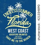 florida typography with floral... | Shutterstock .eps vector #421334890