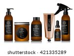 realistic brown bottle for... | Shutterstock .eps vector #421335289