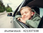dreaming boy look out from the... | Shutterstock . vector #421337338