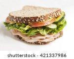 turkey sandwich with vegetables ... | Shutterstock . vector #421337986