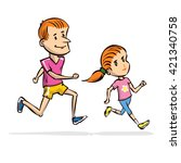 dad and daughter jogging. hand... | Shutterstock .eps vector #421340758