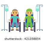 cancer patient on wheelchair... | Shutterstock .eps vector #421358854