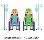 cancer patient on wheelchair... | Shutterstock .eps vector #421358854