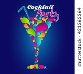 cocktail poster. summer party... | Shutterstock .eps vector #421362364