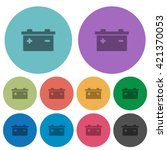 color battery flat icon set on...