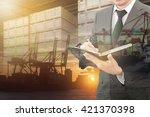 double exposure of businessman... | Shutterstock . vector #421370398