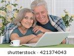 senior couple  with laptop | Shutterstock . vector #421374043