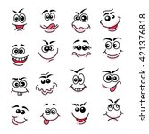 doodle happy faces. hand drawn... | Shutterstock .eps vector #421376818