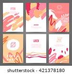 set of brochures with hand... | Shutterstock .eps vector #421378180