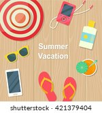 summer vacation. objects on... | Shutterstock .eps vector #421379404