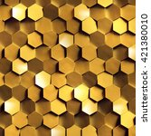 3d render  golden honeycomb... | Shutterstock . vector #421380010