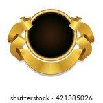 golden badge and gold ribbon...   Shutterstock .eps vector #421385026