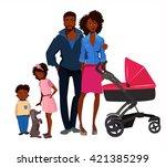 afro american family portrait  | Shutterstock .eps vector #421385299