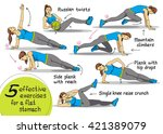 exercises for the abs. fitness  ... | Shutterstock .eps vector #421389079