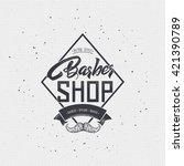 barber label sticker badge hand ... | Shutterstock . vector #421390789