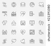 charity thin line icons  ... | Shutterstock .eps vector #421391080